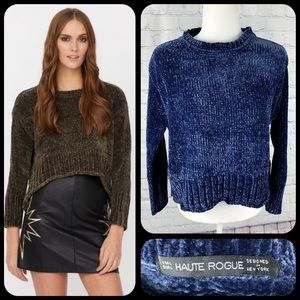 Haute Rouge Claudia Blue High Low Soft Sweater